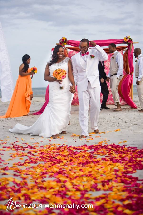Colorful Savannah Beach Wedding Ceremony